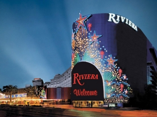 Riviera Entrance and Hotel View at Night